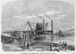 Parni bager radi na kopanju Sueckog kanala