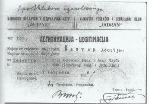 Adorjanova članska karta iz VJK Jadran