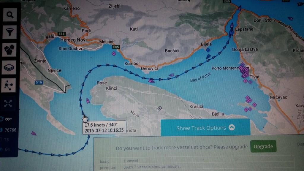 Putanja i brzina kruzera SPLENDOUR OF SHE SEAS danas u Boki