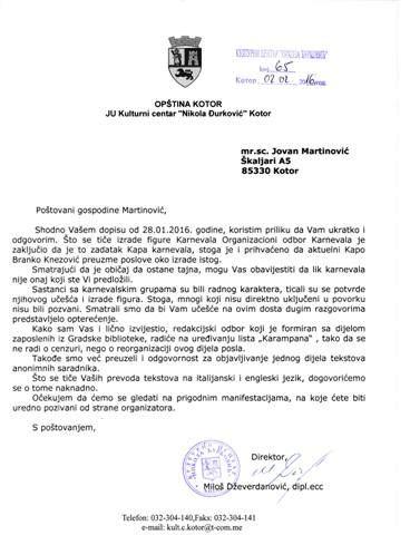 Dzeverdanovicev dopis Martinovicu