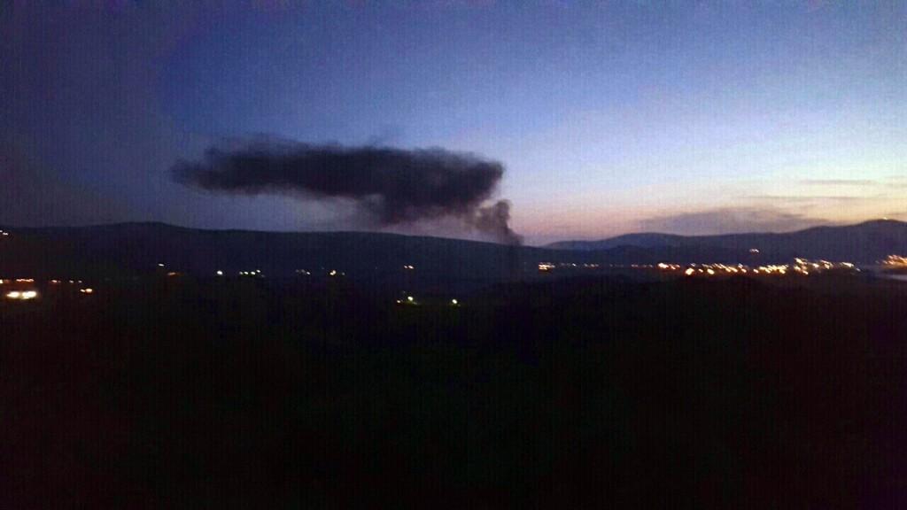 Dim od paljenja guma iznad Lovanje