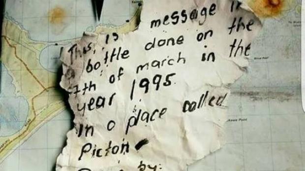 Poruka poslata prje više od dvije decenije (foto stuff.co.nz)